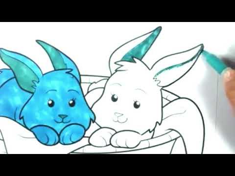 Mavi tavşan boyama öğrenme boyamayı öğreniyorum rabbit painting