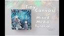 Tiny Christmas Mixed Media Night Sky Winter Canvas ♡ Maremi's Small Art ♡