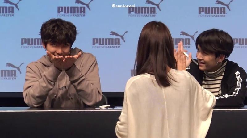 180408 방탄소년단 - 꽃받침소년단과 부끄러운 RM (푸마 팬사인회 직캠)