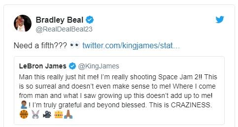 Брэдли Бил написал Леброну Джеймсу о готовности сняться в «Космическом джеме-2»