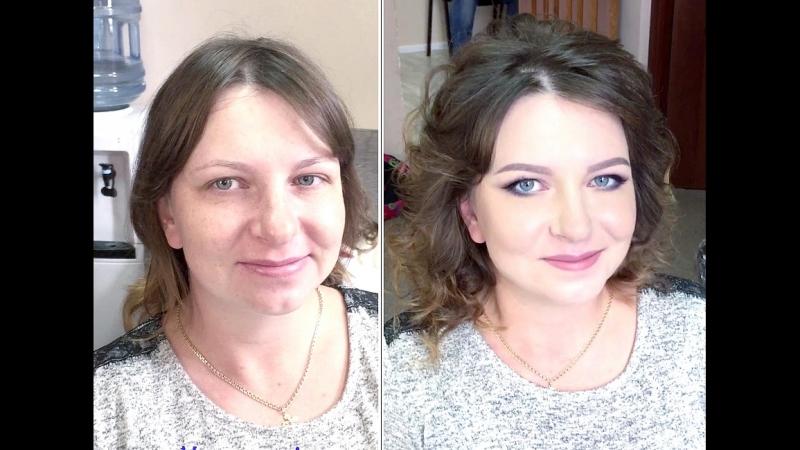 Ксения Саватеева. Нежный макияж и укладка на фотосессию. До и после