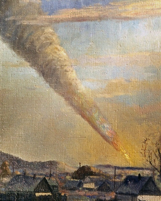 Сихотэ-Алинь метеоритының төшүе (1947 ел) // Бу вакыйганы күзәткән рәссам П.И. Медведев рәсеме