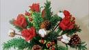 Мастер класс Зимняя композиция Часть 1. Розы и ягоды Бисероплетение