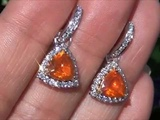 Top Gem Investment Grade Neon Orange Mexican Fire Opal &amp VS Diamond Earrings Set In Solid 18K Gold