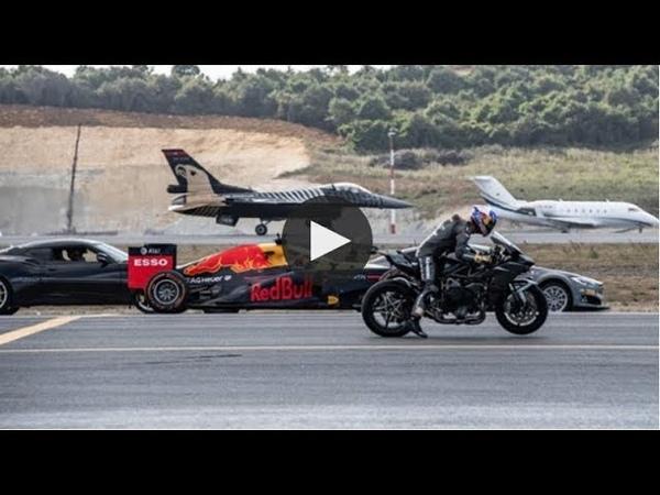 Kawasaki H2R vs F 16 Vs Tesla P100DL vs Challanger 605 vs Lotus Evora 430 GT