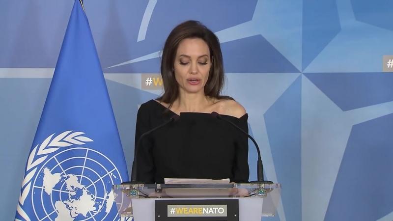 NATO Secretary General with UNHCR Special Envoy Angelina Jolie, 31 JAN 2018