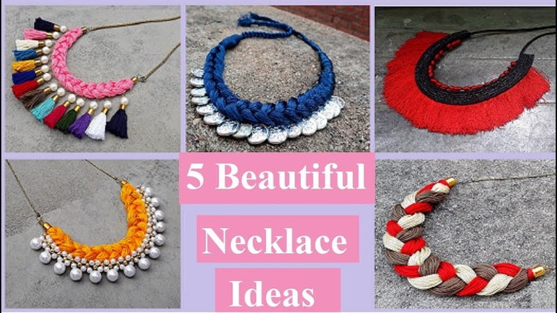 5 Handmade Necklace Ideas | How To Make Silk Thread Necklace At Home | Creationyou