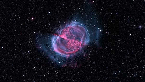Планетарная туманность М27 «Гантель» Планетарная туманность М27 «Гантель» в созвездии Лисички сокровище летнего неба. Довольно большая и яркая туманность, легко доступна для наблюдений уже в