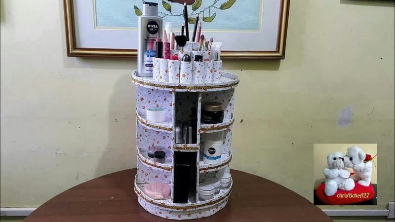 DIY 89 Rotating Cosmetic/Makeup Organizer With My Own Idea Rotating Base Without Stick