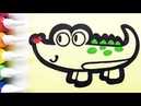 Crocodile coloring drawing studying English for kids ㅣ 악어 그리기 색칠하기 영어 공부