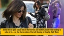 Jenna Dewan goes casual chic in floral dress and leather jacket while heading to salon in LA..
