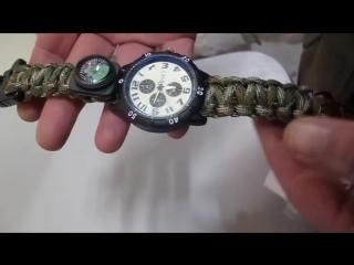 Часы - набор для выживания  тактический фонарь