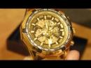 Механические часы с автоподзаводом Winner Skeleton Luxury Gold