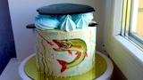 Торт для Рыбака   Как перенести рисунок на кремовый торт   Подарок для папы