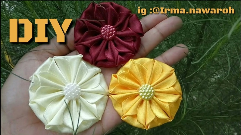DIY ll TUTORIAL BROSS KANZASHI FLOWERS 10 ll KANZASHI FLOWERS FOR BEGINNER PART 3