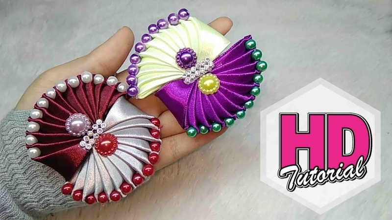 DIY - HANDMADE SATIN RIBBON FLOWER || Cara Membuat Bros || Tutorial Simple Kanzashi