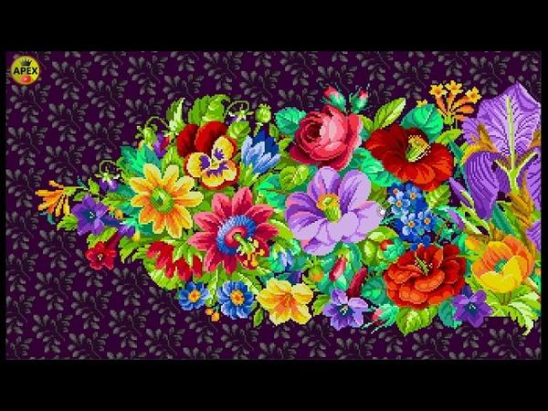 Wide flowers design for cross stitch and diamond painting _تصمیم الورود _ вышивка крестиком _ etamin