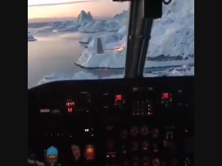 Beautiful view during landing at - the nuuk greenland airport