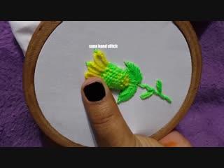 Hand Embroidery __ Easy Trick Wool Thread Flower Trick design Hand Stitch