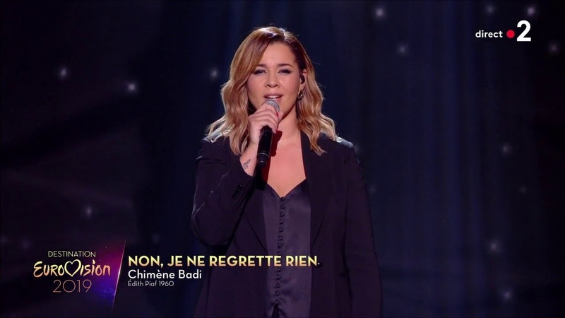 Chimène Badi Je ne regrette rien Edith Piaf Destination Eurovision 2019 1ere demi finale