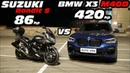 Попытка на МОТОЦИКЛЕ обогнать BMW BMW Х3 G01 М40D vs Suzuki Bandit GSF650S. ГОНКА