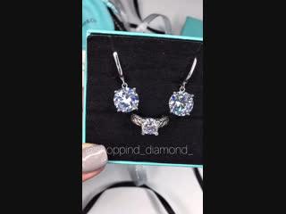 🥰невероятно красивые серьги и колечко 💎цирконы алмазной огранки/ серебро925