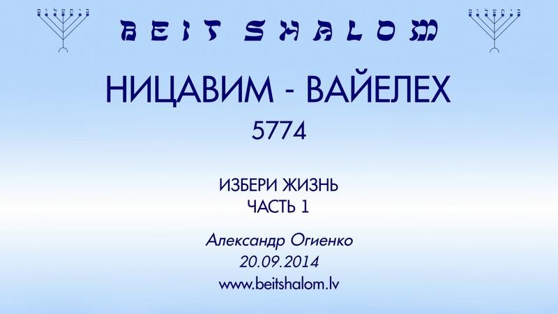 «НИЦАВИМ - ВАЙЕЛЕХ» 5774 «ИЗБЕРИ ЖИЗНЬ» ЧАСТЬ 1 А.Огиенко (20.09.2014)