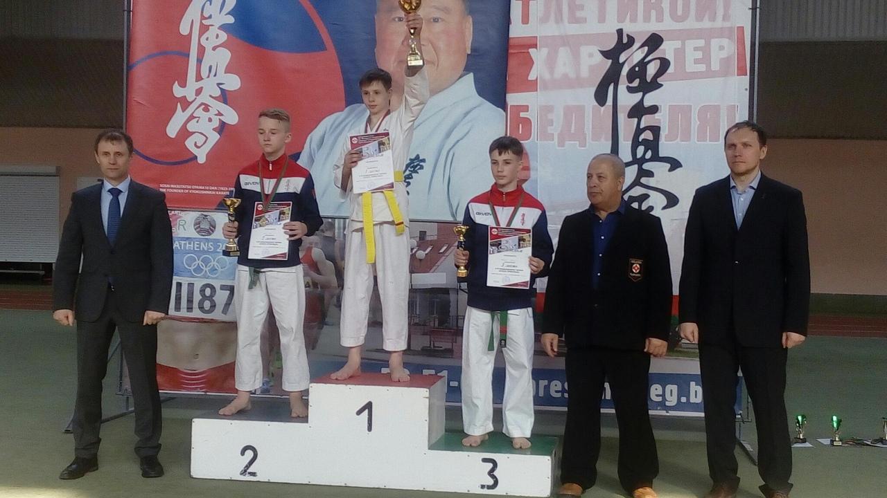 Никита Голик (1-е место). Фото: МСОО «Барановичская федерация Киокушинкай каратэ»