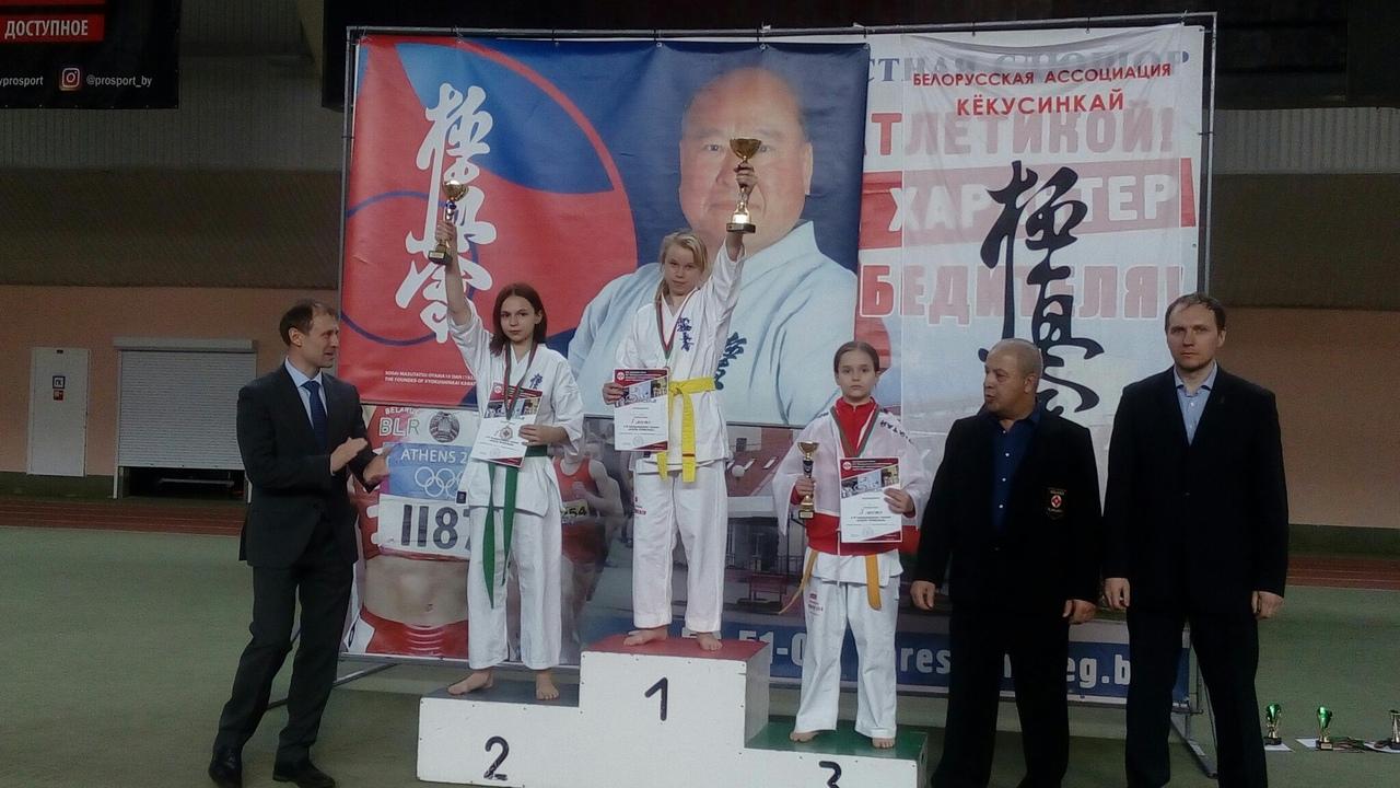 Евгения Можейко (1-е место). Фото: МСОО «Барановичская федерация Киокушинкай каратэ»