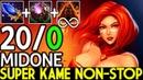 Midone Lina Super Kame Non-stop Brutal 20/0 Epic Game 7.19 Dota 2