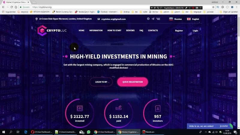 Cryptoluc yatırım sitesi günde 20 kar veriyor tanıtım ve ilk ödeme kanıtı