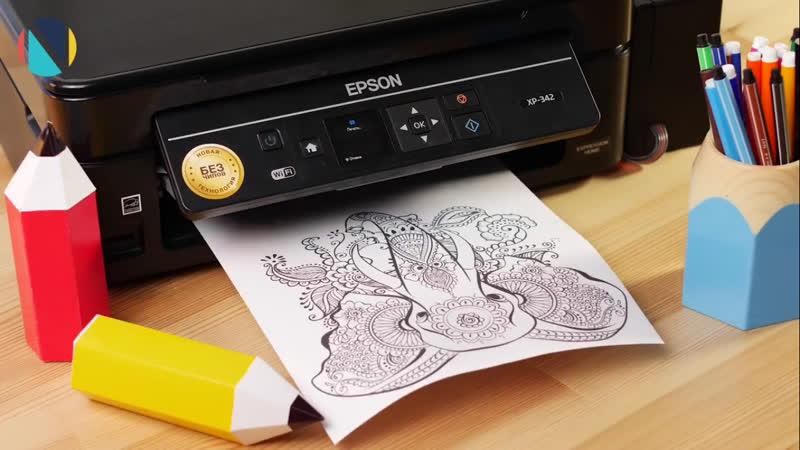 Epson XP-342 печатает раскраски антистресс