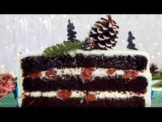 Новогодний Торт Чёрный Лес. Как украсить новогодний торт   Больше рецептов в группе Десертомания