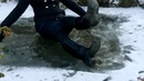 Girl in rubber boots and denim skirt walks under the ice MOV 0079 MOV 0079