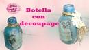 Botella Vintage turquesa con decoupage