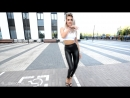 Fitness motivation Squat in leather leggings skin latex