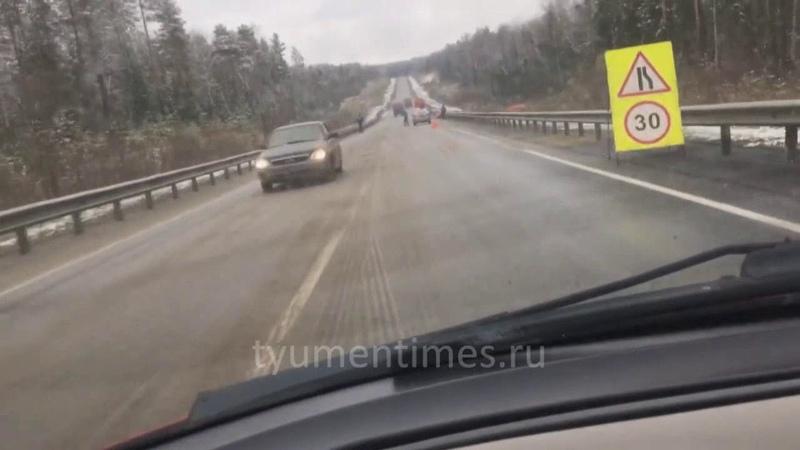 КАМАЗ перевернулся на трассе Ханты-Мансийск - Горноправдинск - Тюмень