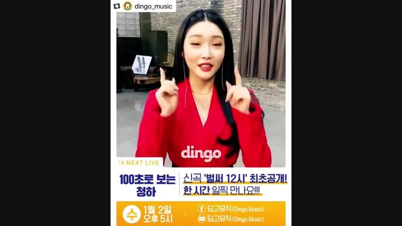 Repost @dingo_music ⠀⠀⠀⠀⠀⠀⠀⠀⠀⠀⠀⠀⠀⠀⠀⠀⠀⠀⠀⠀⠀⠀⠀⠀⠀⠀⠀⠀⠀⠀⠀⠀⠀ ・・・ NEXT LIVE : 100초로 보는 청하 - ❤️딩고 새해 첫 영상의 주인공은?!❤️ 👍🏻청하의 신곡 '벌써 12시'가 공