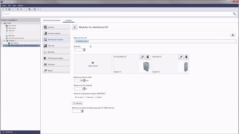 TIA Selection Tool Plant Configuration