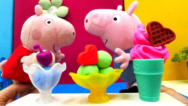 Peppa Wutz und ihre Familie gehen ins Eiscafe. PlayDoh Video.
