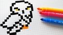 Handmade Pixel Art - How To Draw Hedwig from Harry Potter pixelart