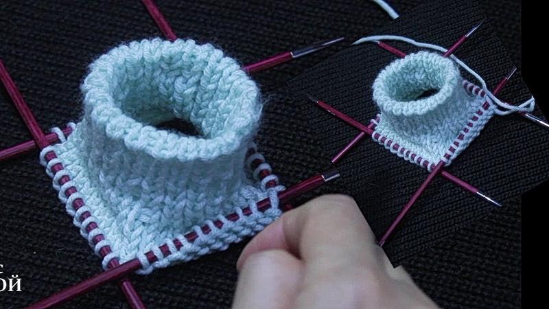 Полая резинка спицами по кругу или Как вязать манжет для вязаных изделий /МК .