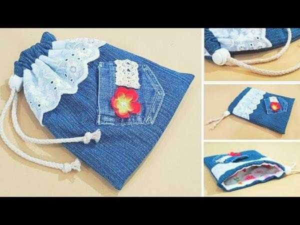 Diy gift bag Mother's day Simple drawstring bag sewing tutorial For beginner 束口袋礼物包教学 ❤❤