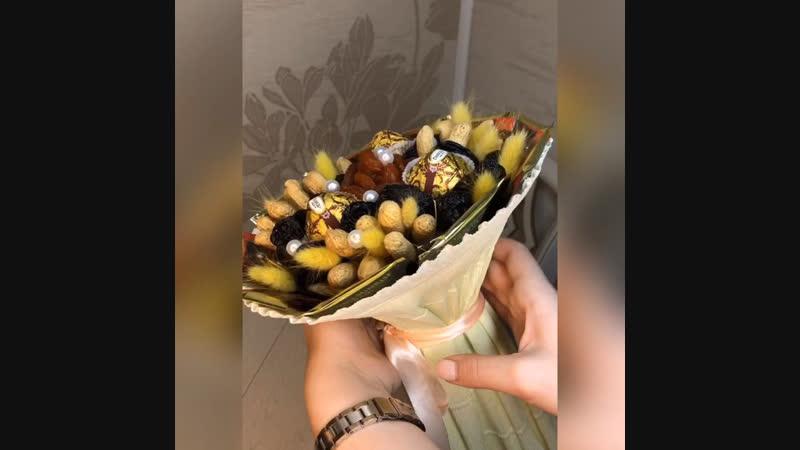 Букет из сухофруктов с орехами, шоколадными конфетами и пакетированным чаем🥜🌰☕️🍯🍇