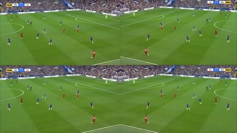 Ação 31: Firmino leva David Luiz com ele e deixa Salah em 1x1 vs Rudiger