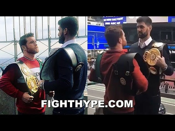 WHOA CANELO SIZES UP ROCKY FIELDING FOR THE FIRST TIME CRAZY HEIGHT AND REACH DIFFERENCE