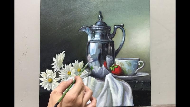 Cách người tây vẽ tĩnh vật bình cổ sơn dầu, đơn giản nhưng rất đẹp