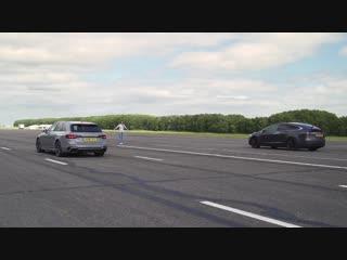 Audi RS4 vs Tesla Model X P100D - DRAG RACE, ROLLING RACE BRAKE TEST