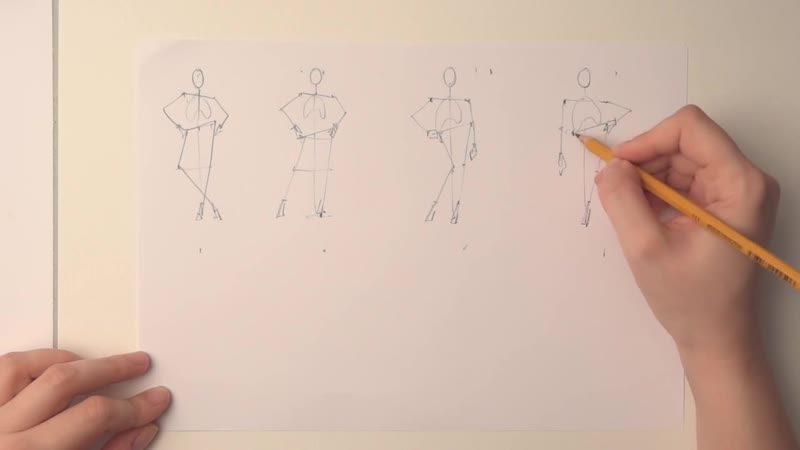 Fashion poses in pencil