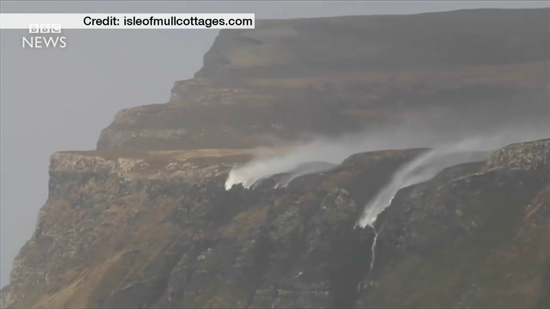 Storm Henry blows a waterfall backwards .